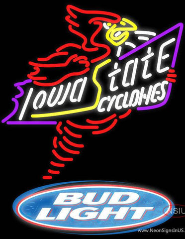 Bud Light Logo Killer Iowa State Cyclones Real Neon Glass Tube Neon Sign Sale Price Look
