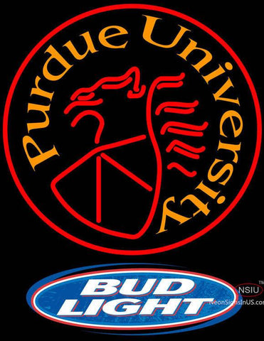 Bud Light Logo Purdue University Round Logo Neon Sign