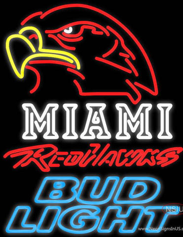 Bud Light Miami University Red Hawks Real Neon Glass Tube Neon Sign
