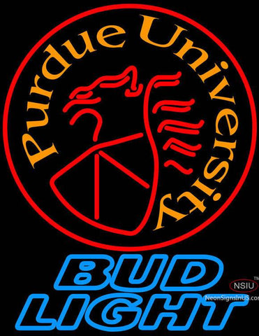Bud Light Purdue University Round Logo Neon Sign