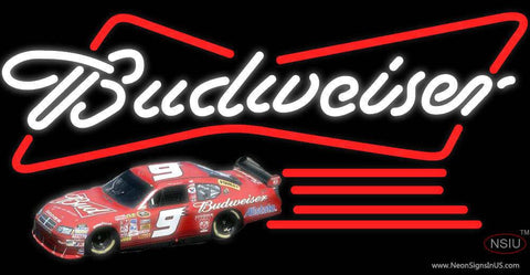 Budweiser Logo With NASCAR Real Neon Glass Tube Neon Sign