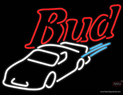 Budweiser NASCAR Stockcar Real Neon Glass Tube Neon Sign