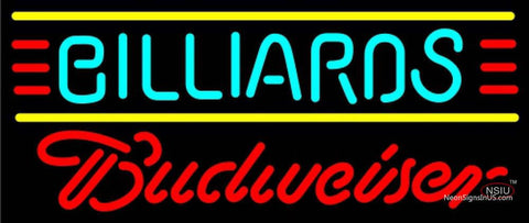 Budweiser Neon Billiards Text Borders Pool Neon Sign