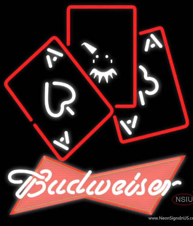 Budweiser Red Ace And Poker Real Neon Glass Tube Neon Sign 7