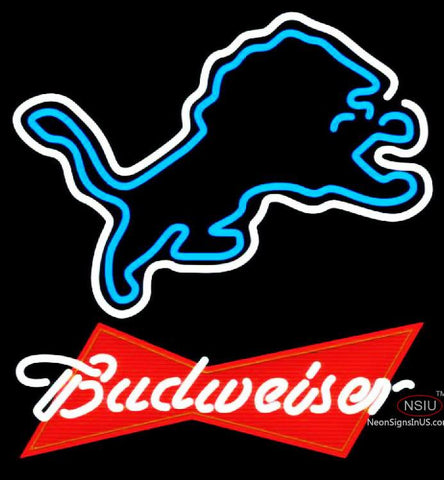 Budweiser Red Detroit Lions NFL Neon Sign