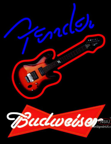 Budweiser Red Fender Blue Red Guitar Neon Sign