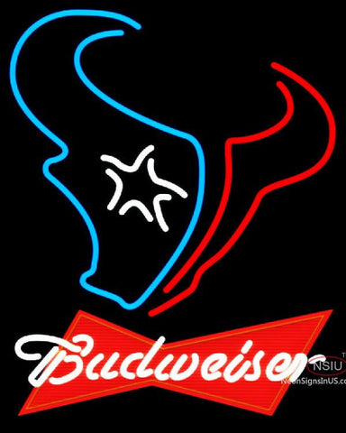 Budweiser Red Houston Texans NFL Neon Sign