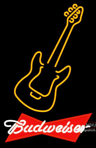Budweiser Red Only Orange Guitar Neon Sign