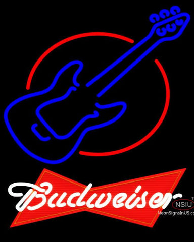 Budweiser Red Red Round Guitar Neon Sign