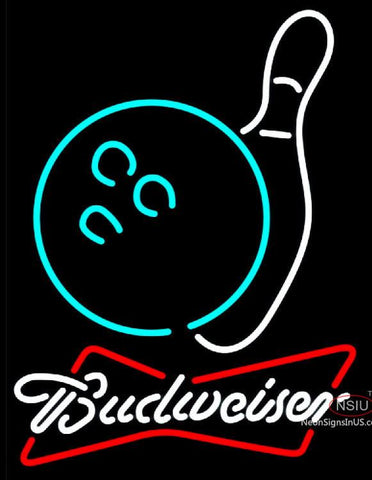 Budweiser White Bowling Neon White Sign