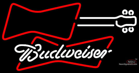 Budweiser White Guitar Red White Neon Sign
