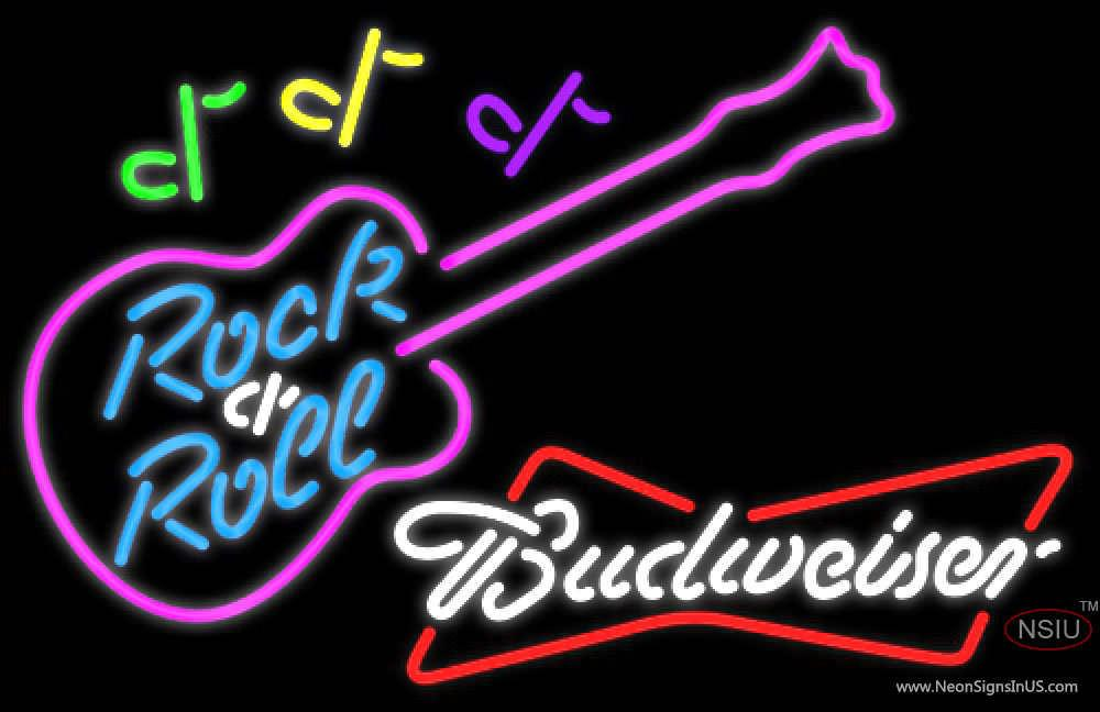 Budweiser White Rock N Roll Pink Guitar Real Neon Glass Tube Neon Sign