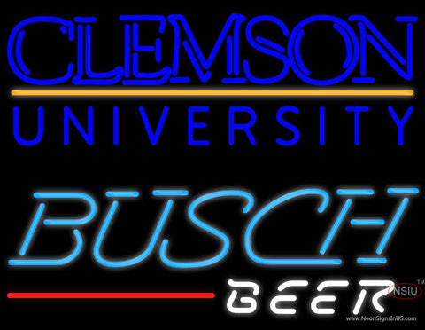 Busch Beer Clemson UNIVERSITY Real Neon Glass Tube Neon Sign
