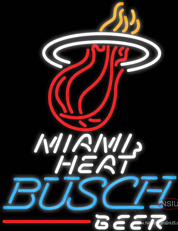 Busch Beer Miami Heat NBA Real Neon Glass Tube Neon Sign