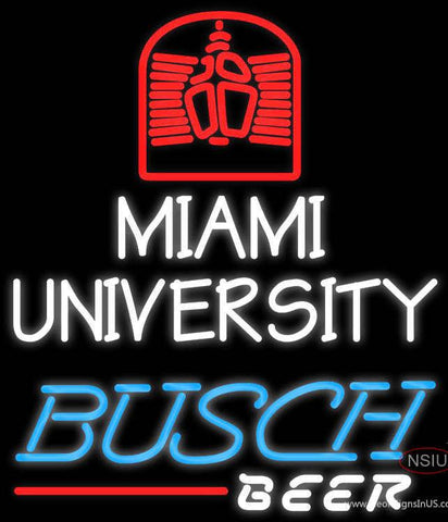 Busch Beer Miami UNIVERSITY Real Neon Glass Tube Neon Sign