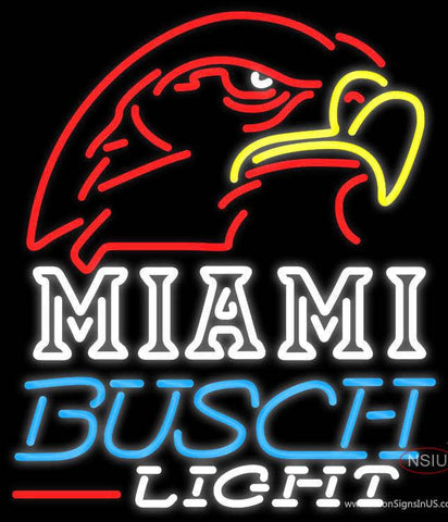 Busch Light Miami UNIVERSITY Fall Session Real Neon Glass Tube Neon Sign