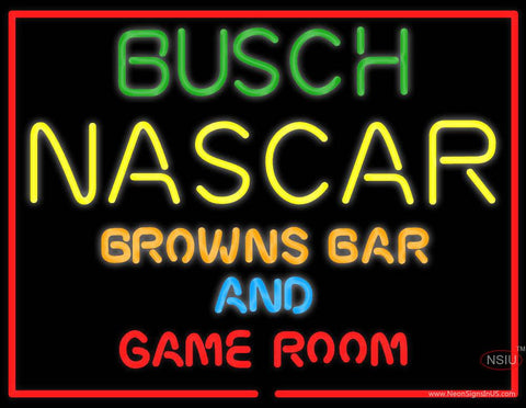 Busch NASCAR Browns Bar And Game Room Real Neon Glass Tube Neon Sign