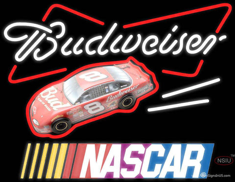 Budweiser With NASCAR Real Neon Glass Tube Neon Sign