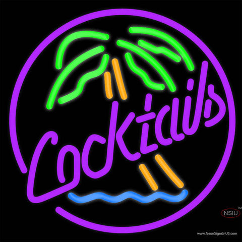 Cocktail Oval Palm Tree Real Neon Glass Tube Neon Sign x