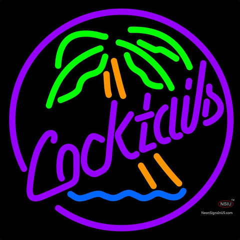 Cocktail Oval Palm Tree Neon Sign x