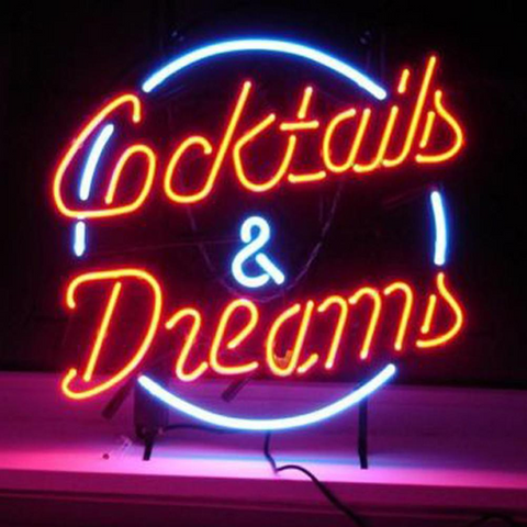 Cocktails and Dreams Handmade Art Neon Sign