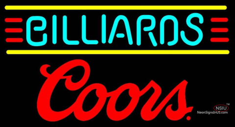 Coors Billiards Text Borders Pool Neon Beer Sign