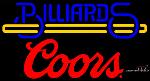 Coors Billiards Text With Stick Pool Neon Beer Sign
