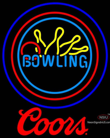 Coors Bowling Neon Yellow Blue Sign  7