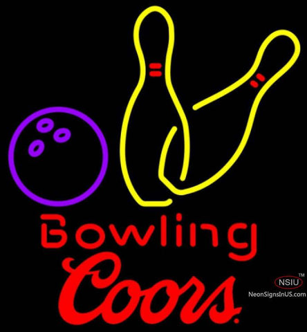 Coors Bowling Neon Yellow Signs