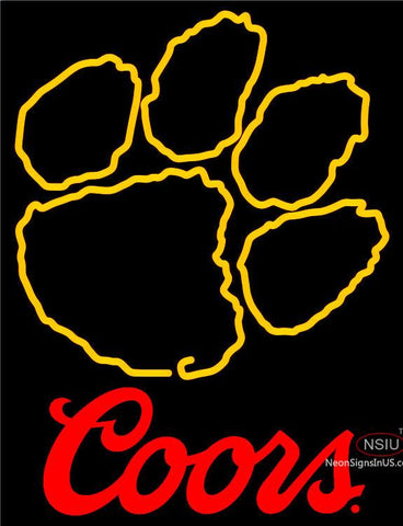 Coors Clemson University Tiger Print Neon Sign
