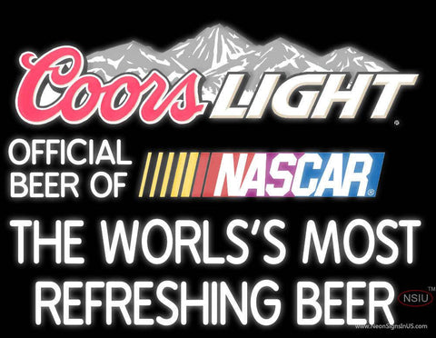 Coors Light Logo With NASCAR- Real Neon Glass Tube Neon Sign