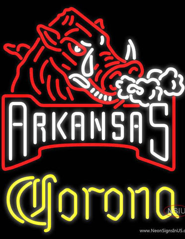 Corona Arkansas Razorbacks Real Neon Glass Tube Neon Sign