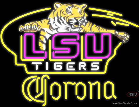 Corona Awesome LSU Tigers Logo Real Neon Glass Tube Neon Sign NCAA