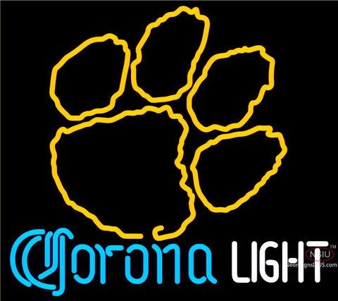Corona Light Neon Clemson UNIVERSITY Tiger Print Neon Sign