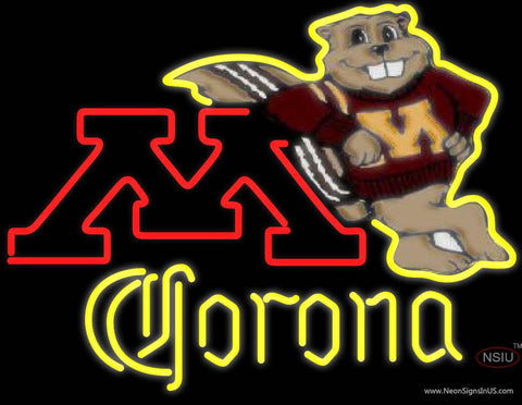 Corona Minnesota Golden Gophers Hockey Real Neon Glass Tube Neon Sign Type