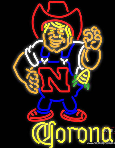 Corona Nebraska Cornhuskers Herby The Husker Real Neon Glass Tube Neon Sign