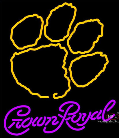 Crown Royal Clemson UNIVERSITY Tiger Print Neon Sign