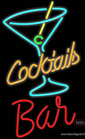 Custom Bar With Cocktail Real Neon Glass Tube Neon Sign