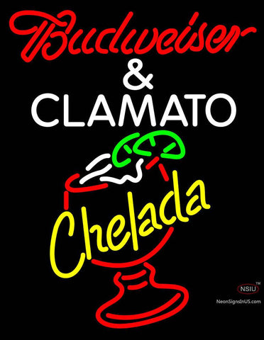 Red Budweiser and Clamato Chelada Neon Beer Sign