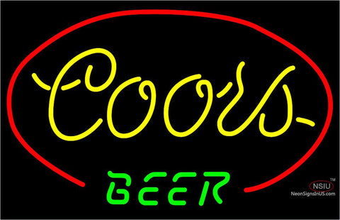 Yellow  Coors Beer Neon Sign