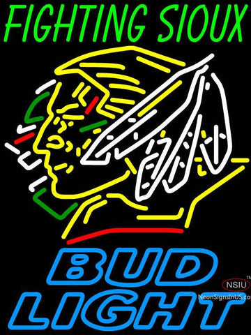 Fighting Sioux With Bud Light Neon Sign