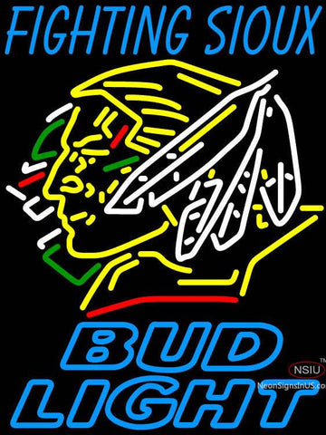 Fighting Sioux With Bud Light Neon Sign 7