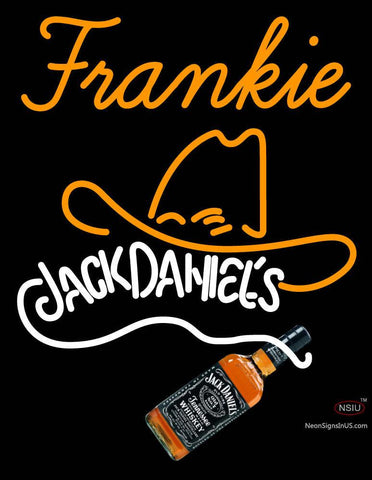 Custom Frankie Rare Jack Daniels Whiskey Cowboy Hat Neon Sign