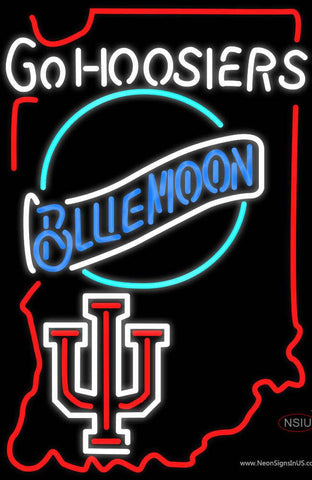 Go Hoosiers With Blue Moon Real Neon Glass Tube Neon Sign