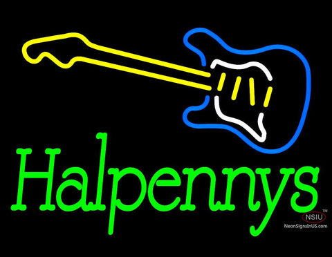 Custom Guitar Halpennys Neon Sign