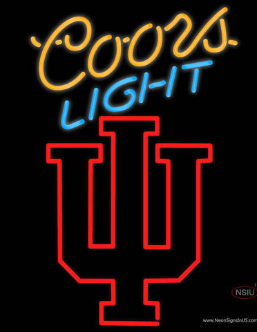 Hoosiers Indiana With Coors Light Real Neon Glass Tube Neon Sign