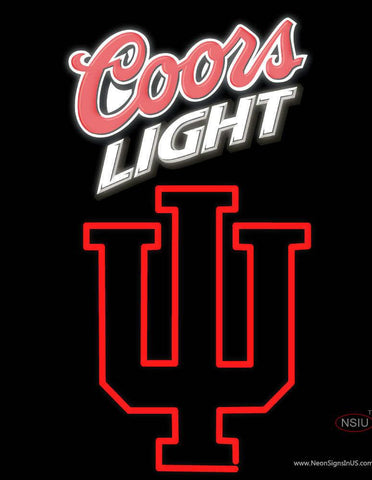 Indiana Hoosiers With Coors Light Logo Real Neon Glass Tube Neon Sign