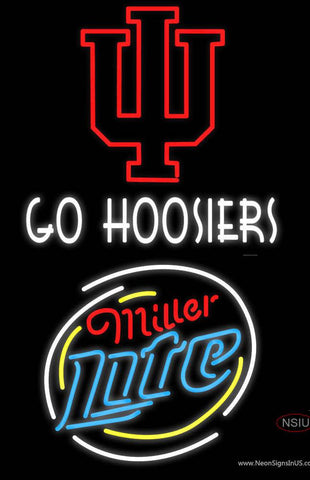 Go Hoosiers With Miller Lite Real Neon Glass Tube Neon Sign