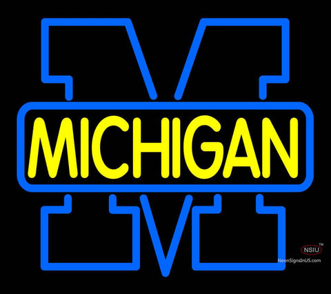 Custom Michigan Wolverines Primary   Logo Neon Sign
