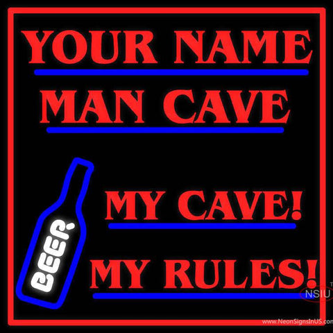 Custom My Cave My Rules Beer Man Cave Real Neon Glass Tube Neon Sign